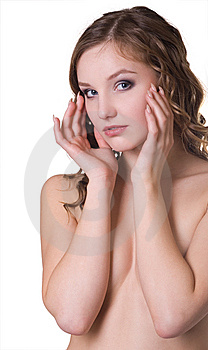 Beautiful Woman Isolated On A White Stock Photography - Image: 8532612
