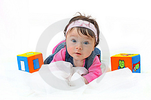 Little Baby On Isolated Background Royalty Free Stock Images - Image: 8534759