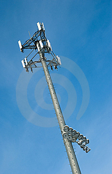Cell Phone Tower With Sports Field Lights Stock Images - Image: 8535044