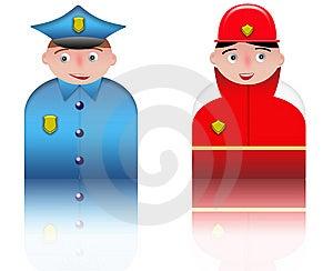 People Icons Policeman And Fireman Royalty Free Stock Photos - Image: 8535318