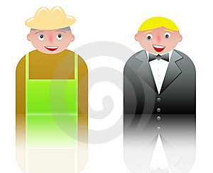 People Icons Waiter And Farmer Stock Photos - Image: 8535413