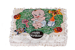 Big Birthday Cake With Child In Cabbage Stock Images - Image: 8535474