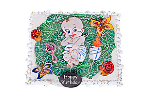 Big Birthday Cake With Child In Cabbage Royalty Free Stock Image - Image: 8535486