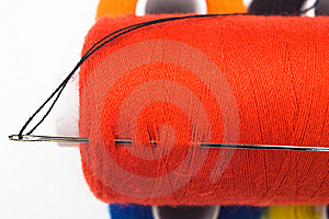 Sewing Spool With A Needle Royalty Free Stock Image - Image: 8535656