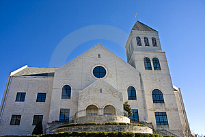 White Brick Church On Blue Stock Photos - Image: 8536883