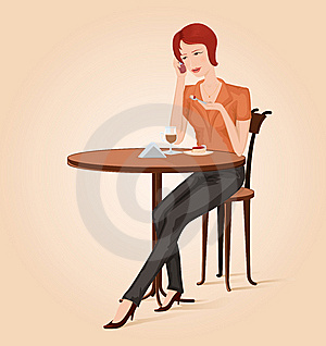 Girl At Cafe Royalty Free Stock Images - Image: 8537159