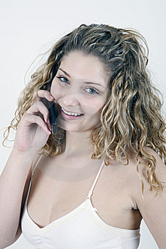 Girl Talking Over Cell Phone Royalty Free Stock Image - Image: 8537296