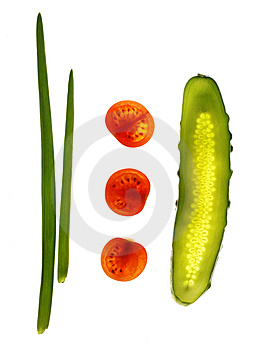 Cucumber, Tomato, Onion On White Royalty Free Stock Image - Image: 8537726