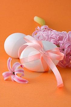 Easter Eggs On An Orange Background Stock Image - Image: 8538591
