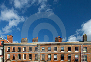 Red Brick Irish Building With Row Of Chimney Stock Image - Image: 8538651