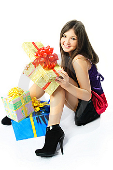 Happy Girl With Presents Stock Image - Image: 8539961
