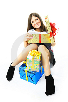 Happy Girl With Presents Royalty Free Stock Image - Image: 8539976