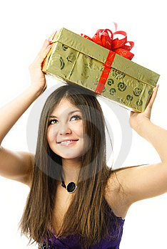 Pretty Girl With A Present Stock Photo - Image: 8540070