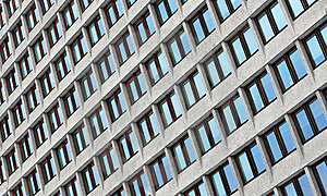 Windows At Wall Of Business Center Stock Photo - Image: 8540320