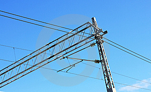 Railway Pylons Of The High Tension Line Royalty Free Stock Photos - Image: 8540628