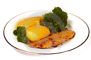 Cutlet With Broccoli And Potatos Stock Image - Image: 8540811