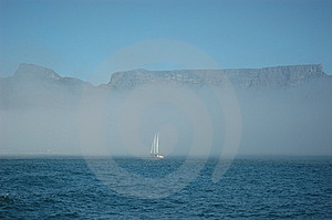 Sailboat With Table Mountain Stock Photo - Image: 8541000