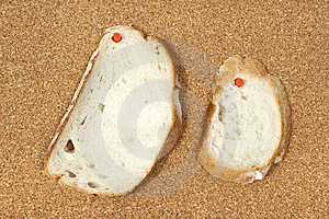Two Slices Of Bread Pinned To Corkboard Stock Photography - Image: 8542882