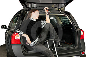 Pretty Women And Car Royalty Free Stock Images - Image: 8544609