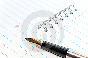 A Gold-nibbed Pen On A Notepad Royalty Free Stock Photos - Image: 8545208