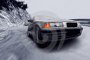 Beautiful Speed Sportcar On The Road Royalty Free Stock Image - Image: 8545376