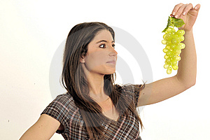 Girl And Grape Royalty Free Stock Image - Image: 8546166