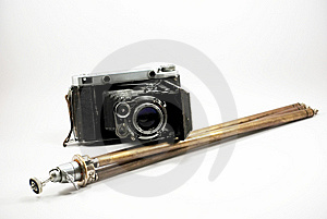 Old Film Photo Camera And Stand Royalty Free Stock Image - Image: 8546196