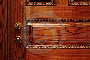 Door Handle On The Wooden Door Royalty Free Stock Photography - Image: 8546577