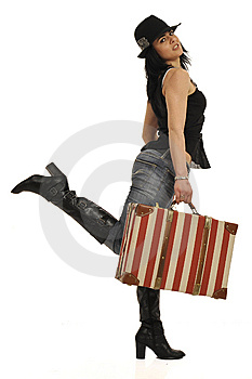 Lady With Suitcase Royalty Free Stock Image - Image: 8546826