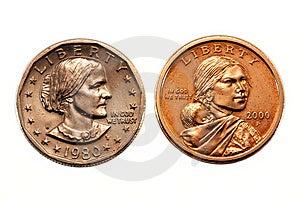 Amerikanischer Dollarmünzenvergleich Lizenzfreie Stockfotografie - Bild: 8547267