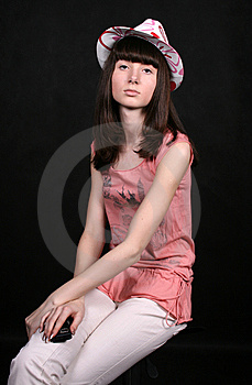 Pretty Girl With A Phone Stock Image - Image: 8548701