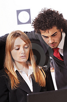 Worker Couple Uses Laptop Stock Images - Image: 8548844