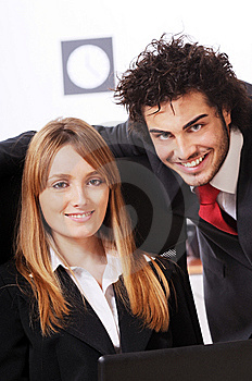 Worker Couple Uses Laptop Royalty Free Stock Images - Image: 8548849