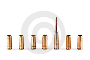 One AK Bullet Among 9mm Shells Stock Photography - Image: 8548852