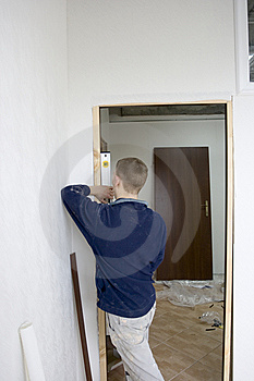 Installing The Doors Stock Photo - Image: 8550310