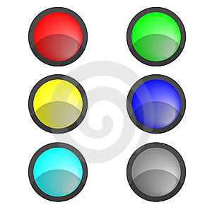 Six Multi-coloured Buttons Stock Images - Image: 8550774