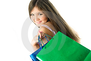 Pretty Girl With Shopping Bags Royalty Free Stock Photography - Image: 8551397