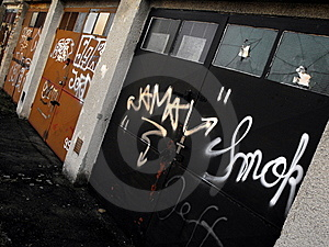 Graffiti garages Royalty Free Stock Photos