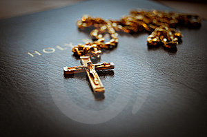 Holy Bible With Cross Stock Image - Image: 8554251