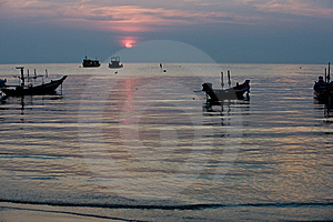 Silhouette Of Boats During Sunset Stock Photos - Image: 8554293