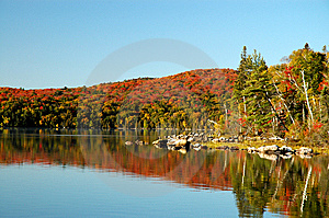 Autumn Reflection On Flack Lake Royalty Free Stock Image - Image: 8554566