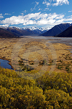 River Flood Plain In The South Island Royalty Free Stock Images - Image: 8554669