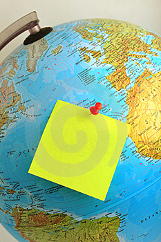 Yellow Note On Earth Stock Photos - Image: 8556453