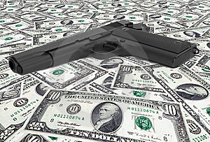 US Dollars With Gun Stock Images - Image: 8557894