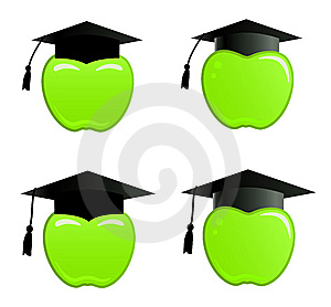 Apple In Graduation Cap Royalty Free Stock Photography - Image: 8558337