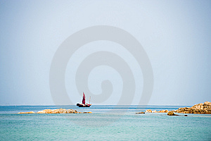 Traditional Chinese Junk Boat On The Horizon Royalty Free Stock Photography - Image: 8558587