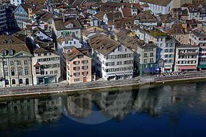 Limmat Waterfront - Aerial, Zurich Stock Image - Image: 8558811