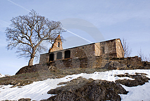 Stone Chapel Next To Tree. Royalty Free Stock Images - Image: 8559209