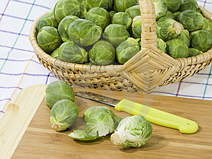 Preparation Of Brussels Sprouts Royalty Free Stock Image - Image: 8559646