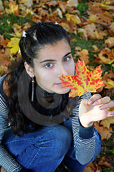 A Woman With A Leaf Stock Images - Image: 8559944